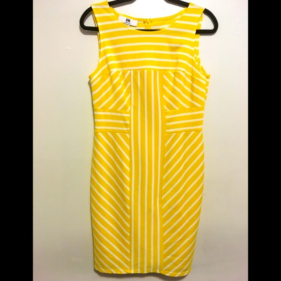 DR Yellow and White Striped MIDI sleeveless dress